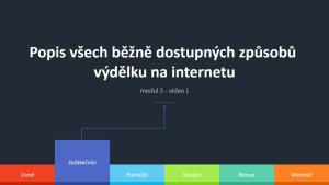 3.1 - Popis běžně dostupných způsobů výdělku na internetu